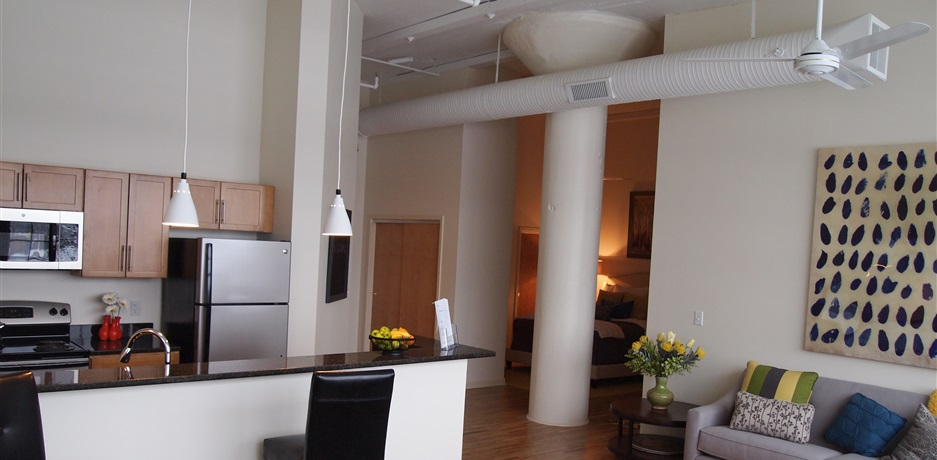 Modern luxury apartments are renovated lofts in the Coltsville area of Downtown Hartford.