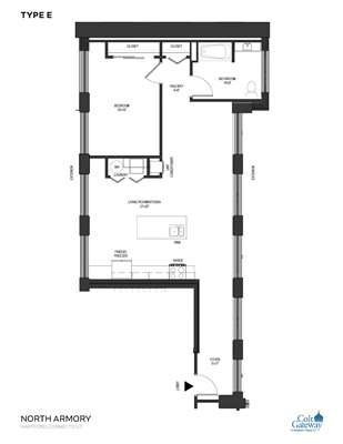 1 Bedroom 1 Bath Type E